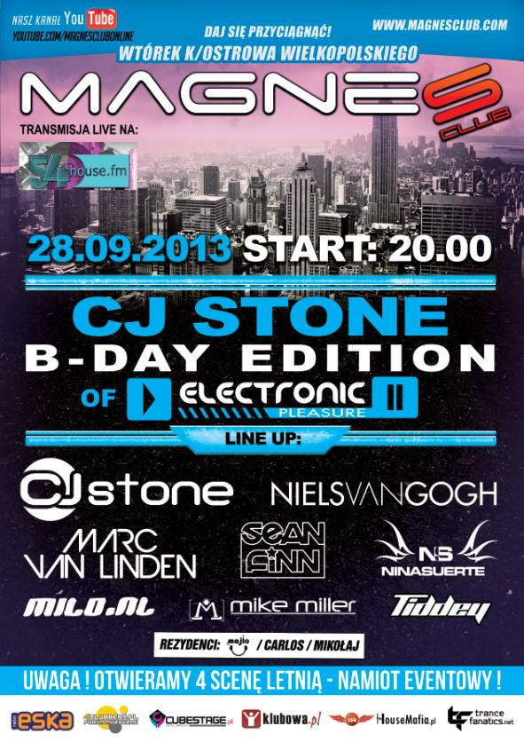 Electronic Pleasure – CJ Stone Birthday Edition @ MAGNES CLUB 28.09.2013