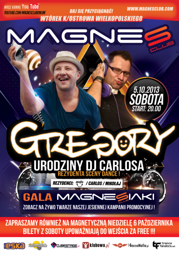 05.10 GREGORY, GALA MAGNESIAKI @ MAGNES CLUB WTÓREK